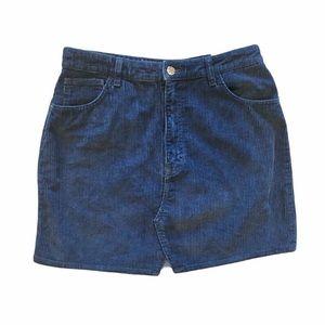 NWT Zara Navy Corduroy 100% Cotton Mini Skirt
